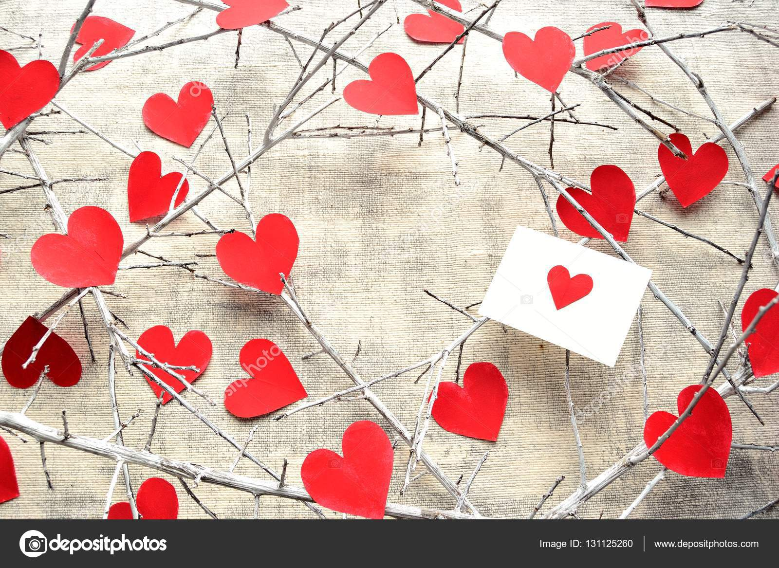 Red heart message card,heart shaped paper cut out and white dead ...