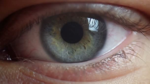 Close up view of eye twitches nervously