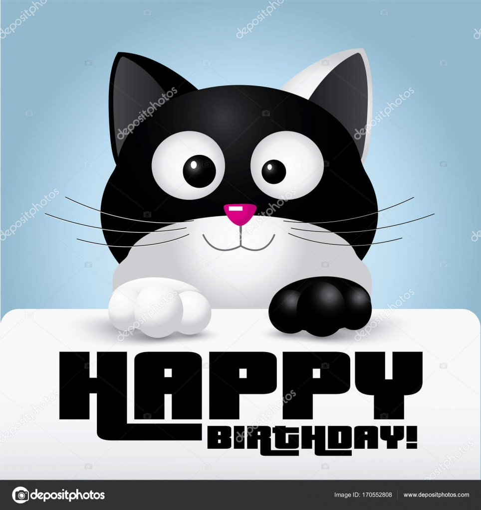 Sensational Images Birthday Wishes With Cats Black And White Cat Holding A Personalised Birthday Cards Epsylily Jamesorg