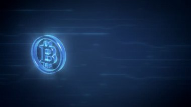 Bitcoin symbol spinning in loop on a blue digital background with area for other content