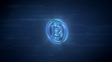 Bitcoin symbol spinning in loop on a blue digital background