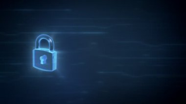 3d lock spinning with light effects on a digital background and area for your content, loop animation