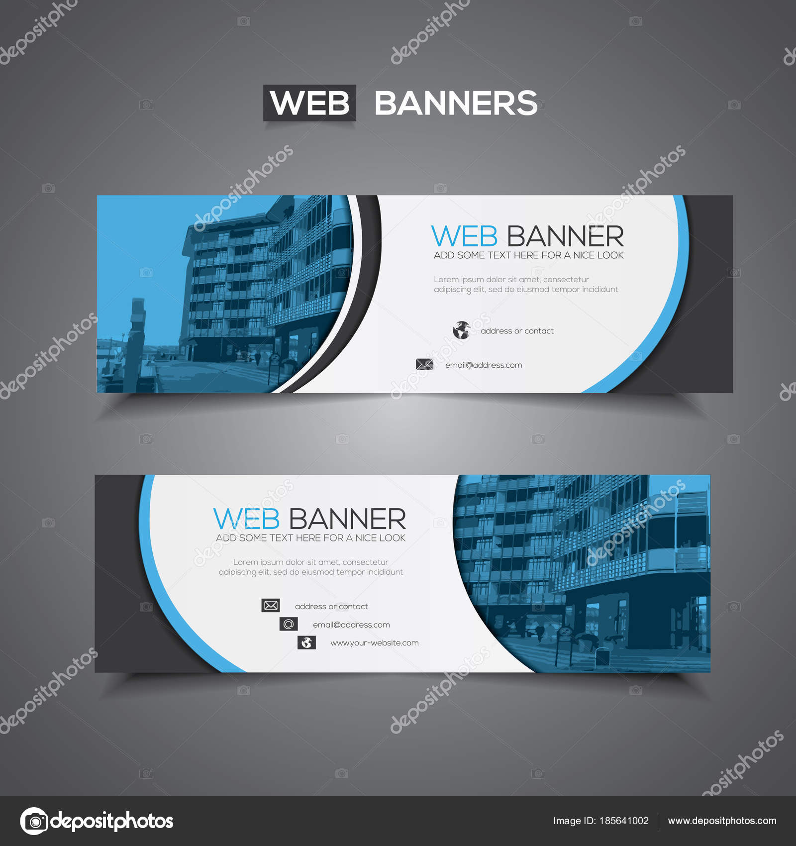 Abstract Vector Banner Web Template Print Use Header Background Blue