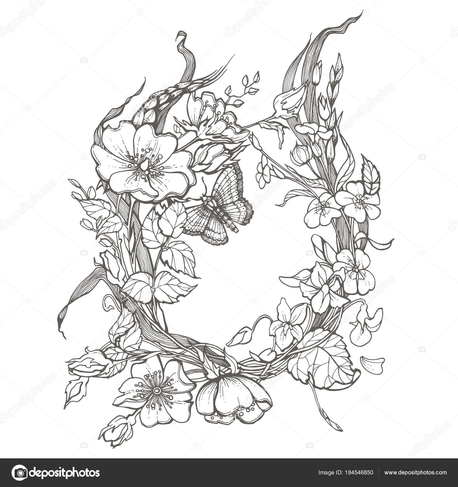 Wild dog rose flowers frame contour ink adult coloring page drawing ...