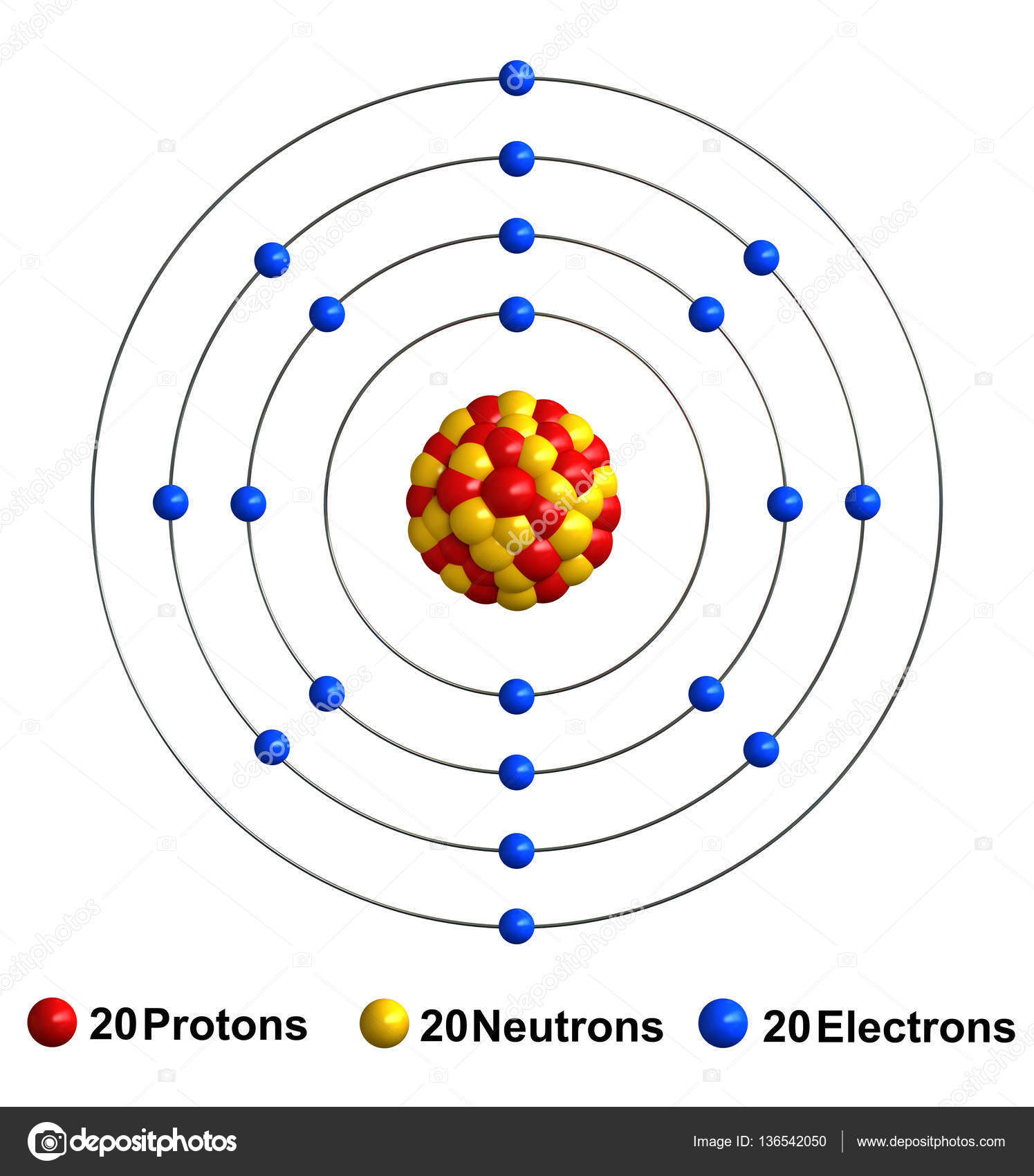 Renderização 3d Da Estrutura Do átomo De Cálcio Stock
