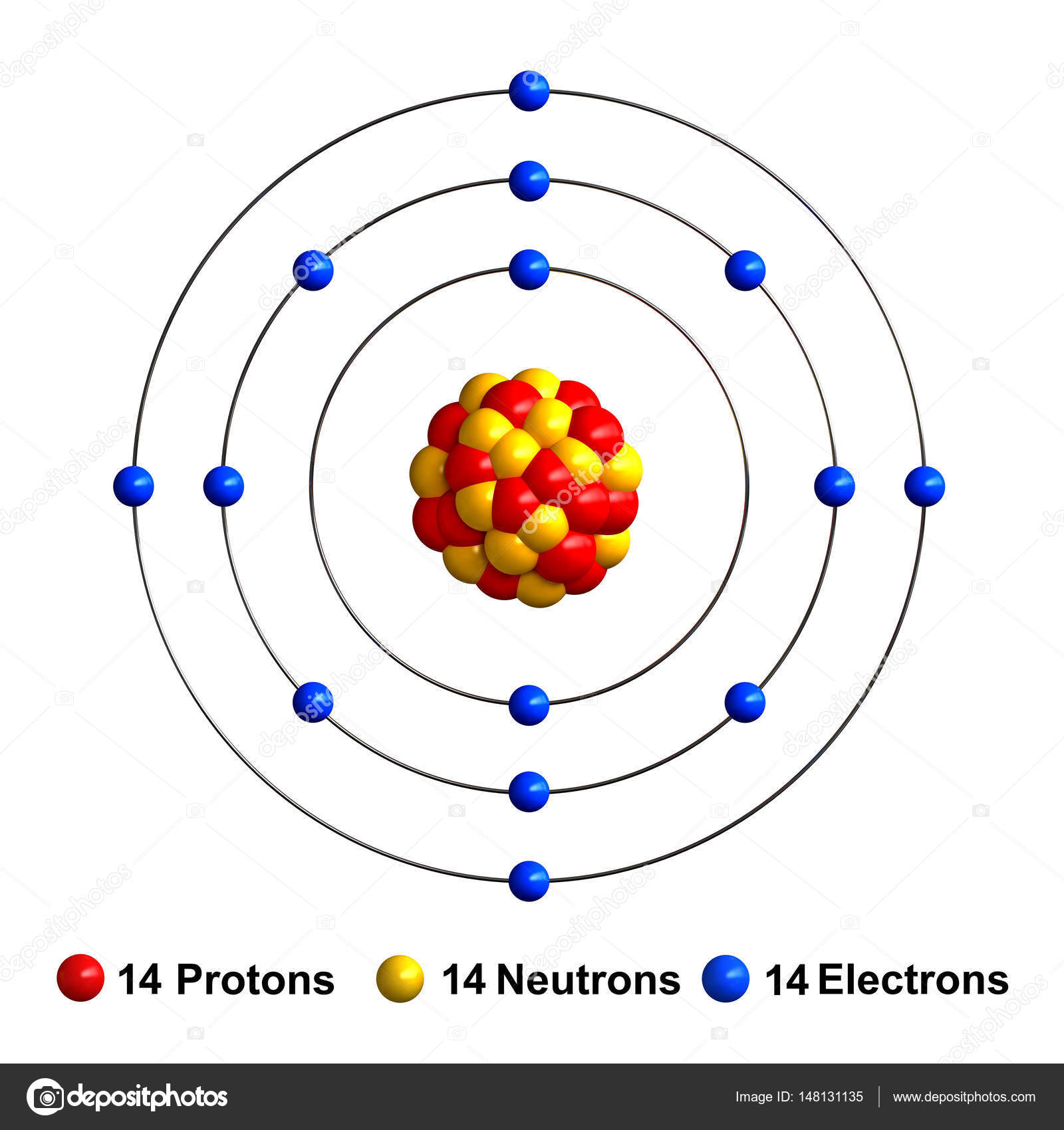 3d Render Of Atom Structure Of Silicon  U2014 Stock Photo
