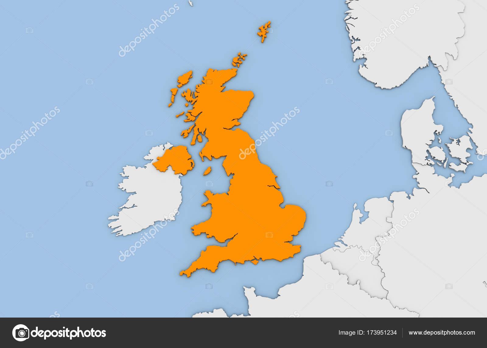 Mapa De Gran Bretaña En Español.Mapa Fisico Del Reino Unido En Espanol Render 3d Del Mapa