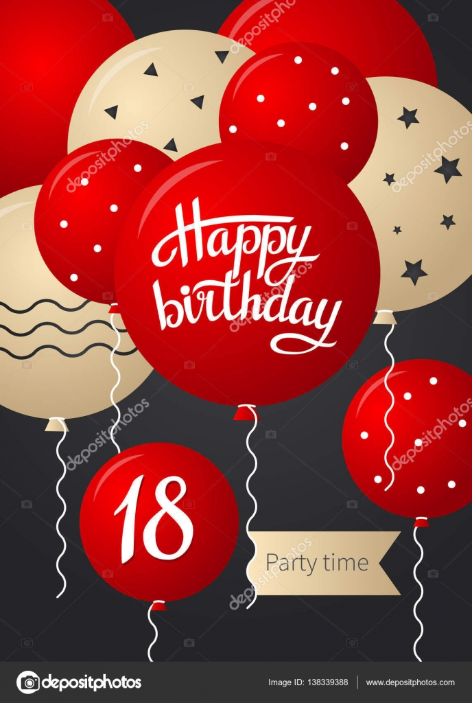 18 års gratulationer Grattis på födelsedagen adresskortsmallen — Stock Vektor © sunolga  18 års gratulationer