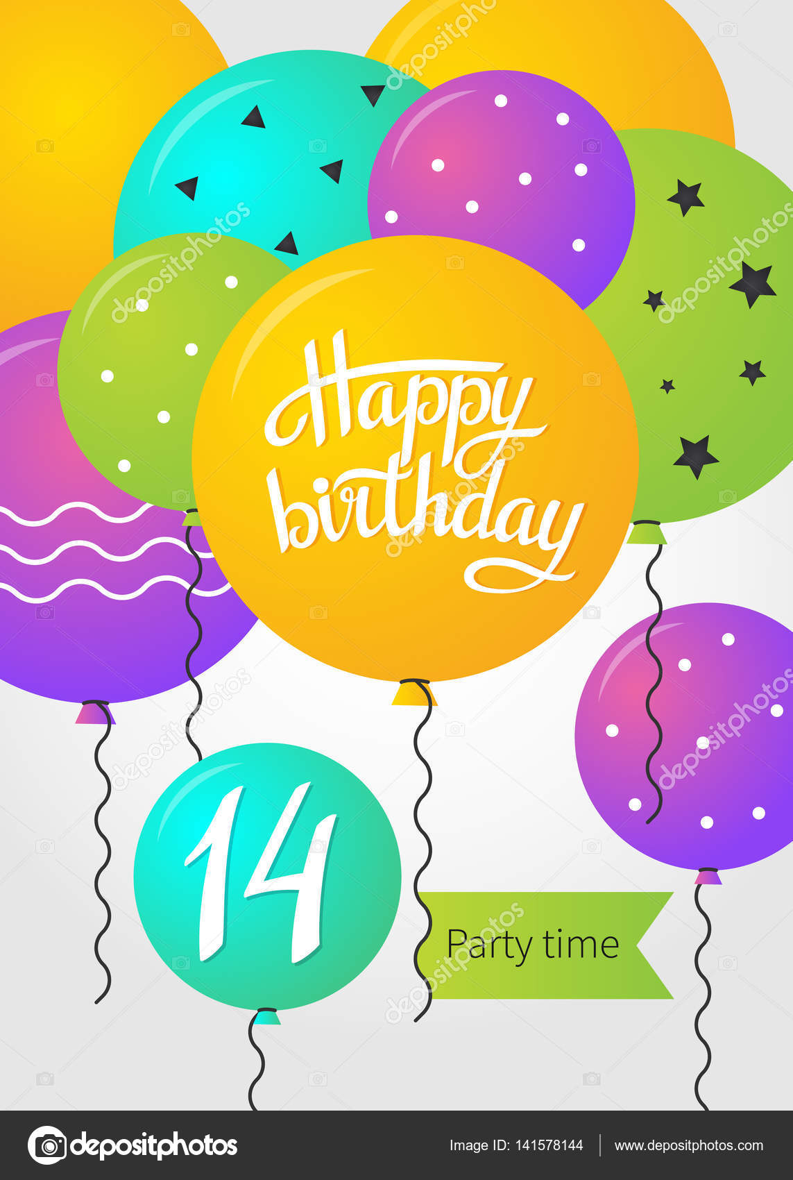 grattis 14 år Grattis på födelsedagen adresskortsmallen — Stock Vektor © sunolga  grattis 14 år