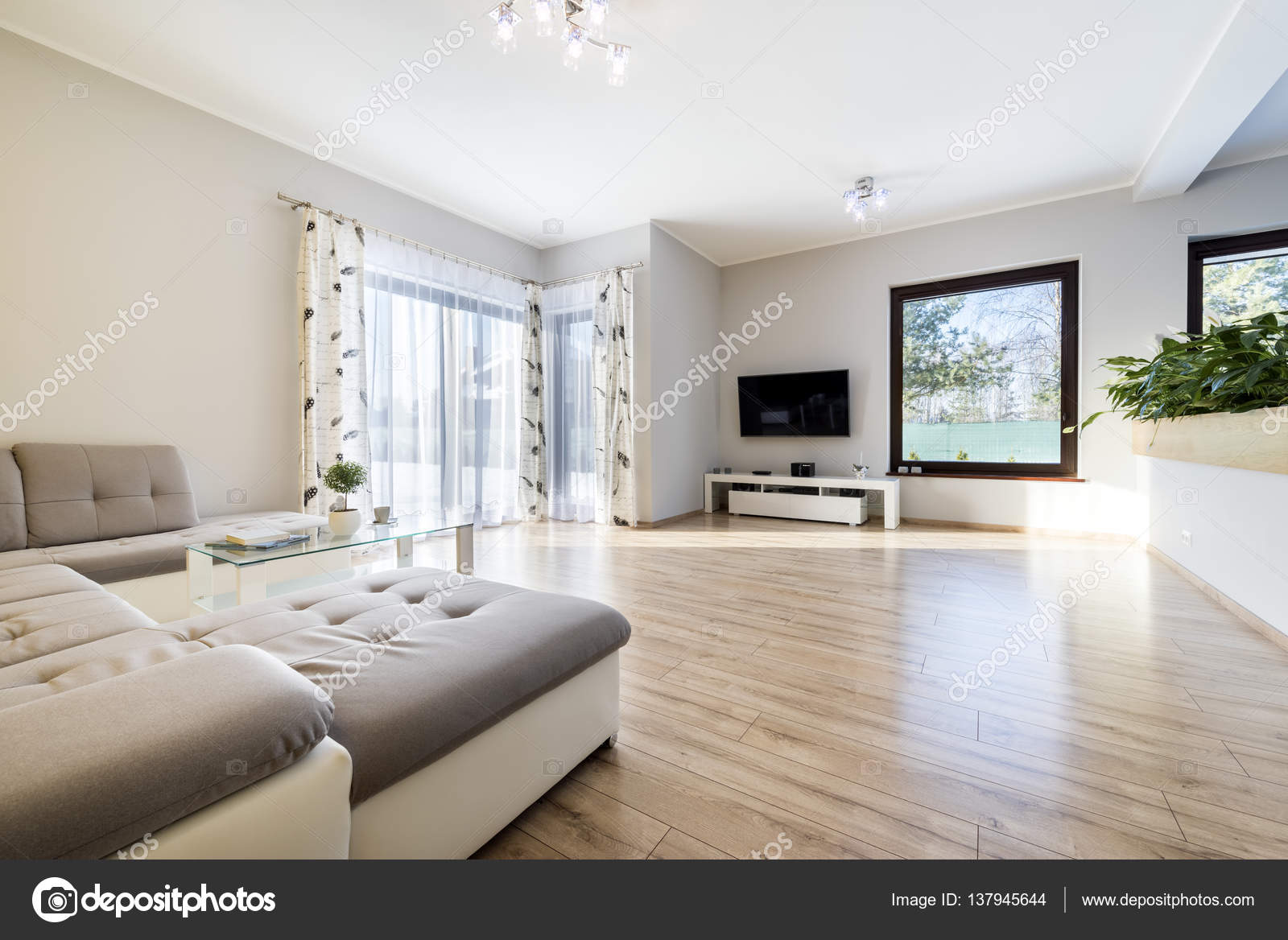 int rieur moderne salon avec plancher en bois. Black Bedroom Furniture Sets. Home Design Ideas