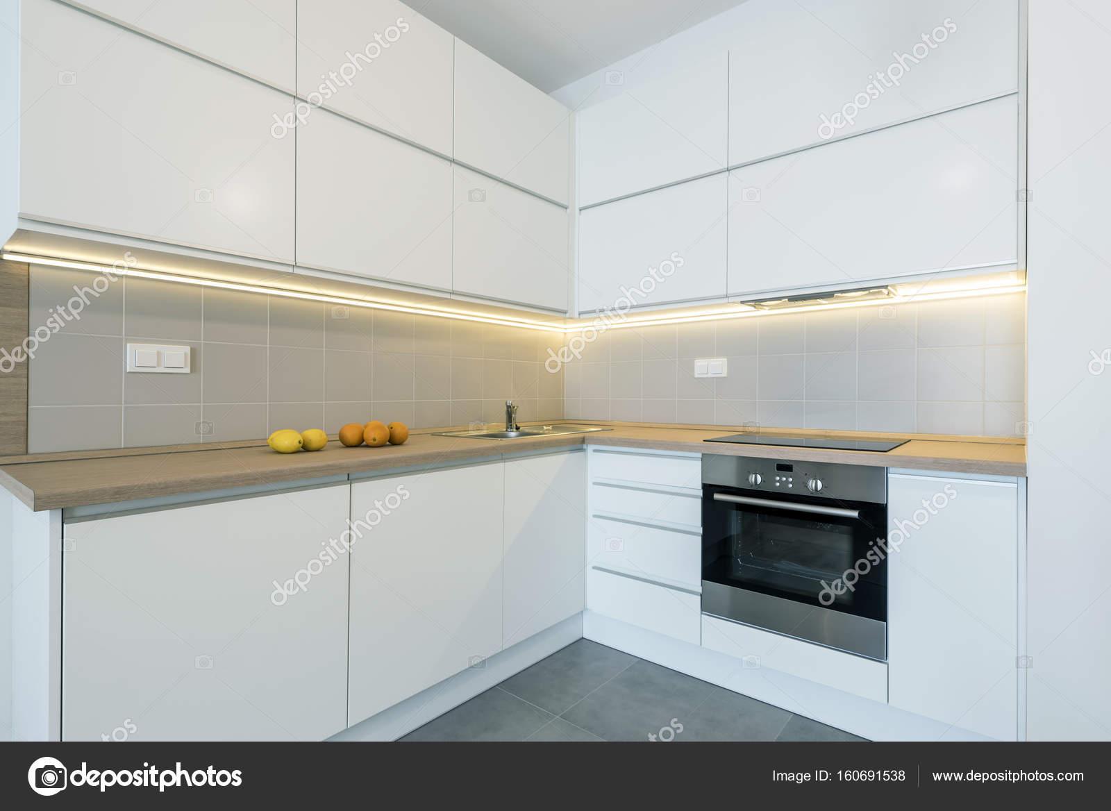 moderne Küche Innenarchitektur in weißer Farbe — Stockfoto ...