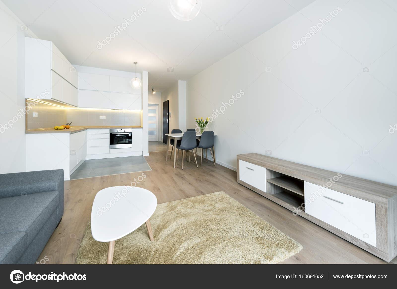 moderne woonkamer en keuken — Stockfoto © jacek_kadaj #160691652