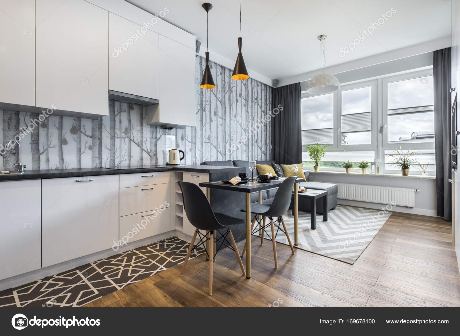Moderna Sala Pequena Com Cozinha Stock Photo Jacek_kadaj 169678100