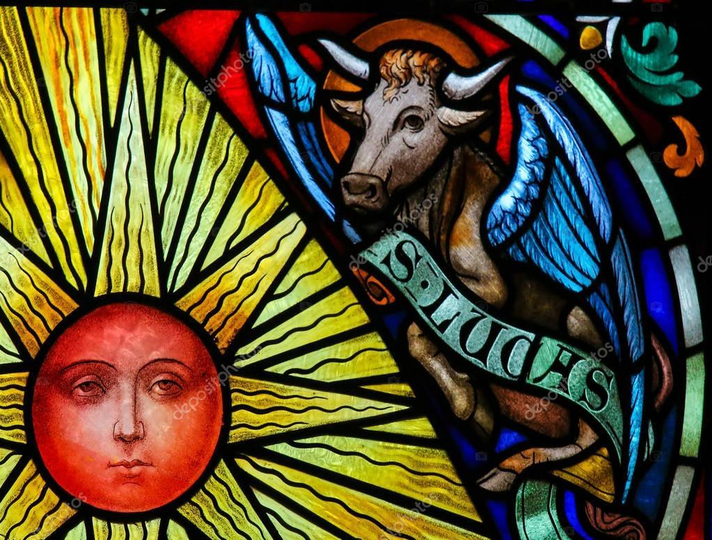 Stained Glass Symbolizing Saint Luke The Evangelist Stock