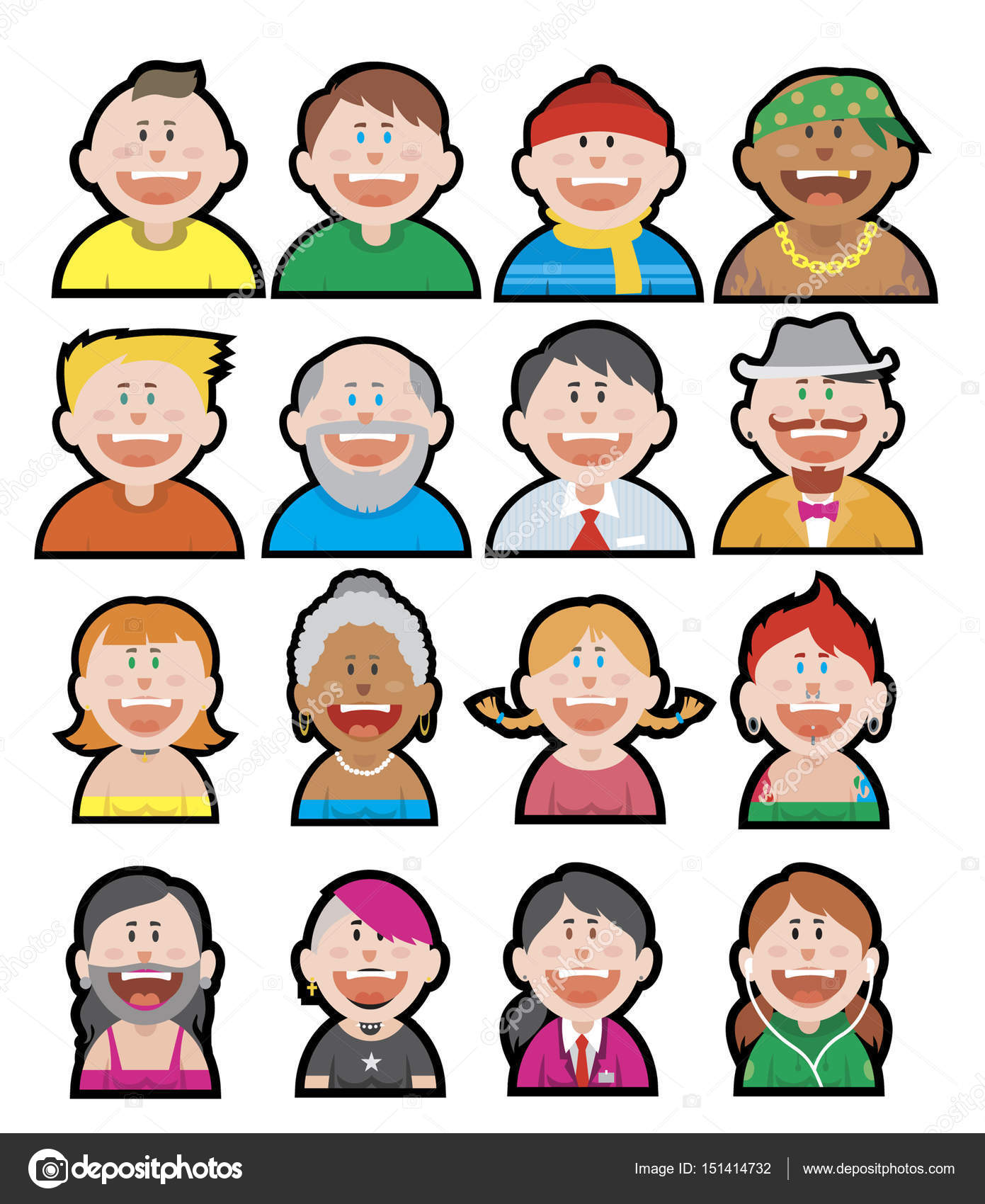 Funny avatars vector set stock vector