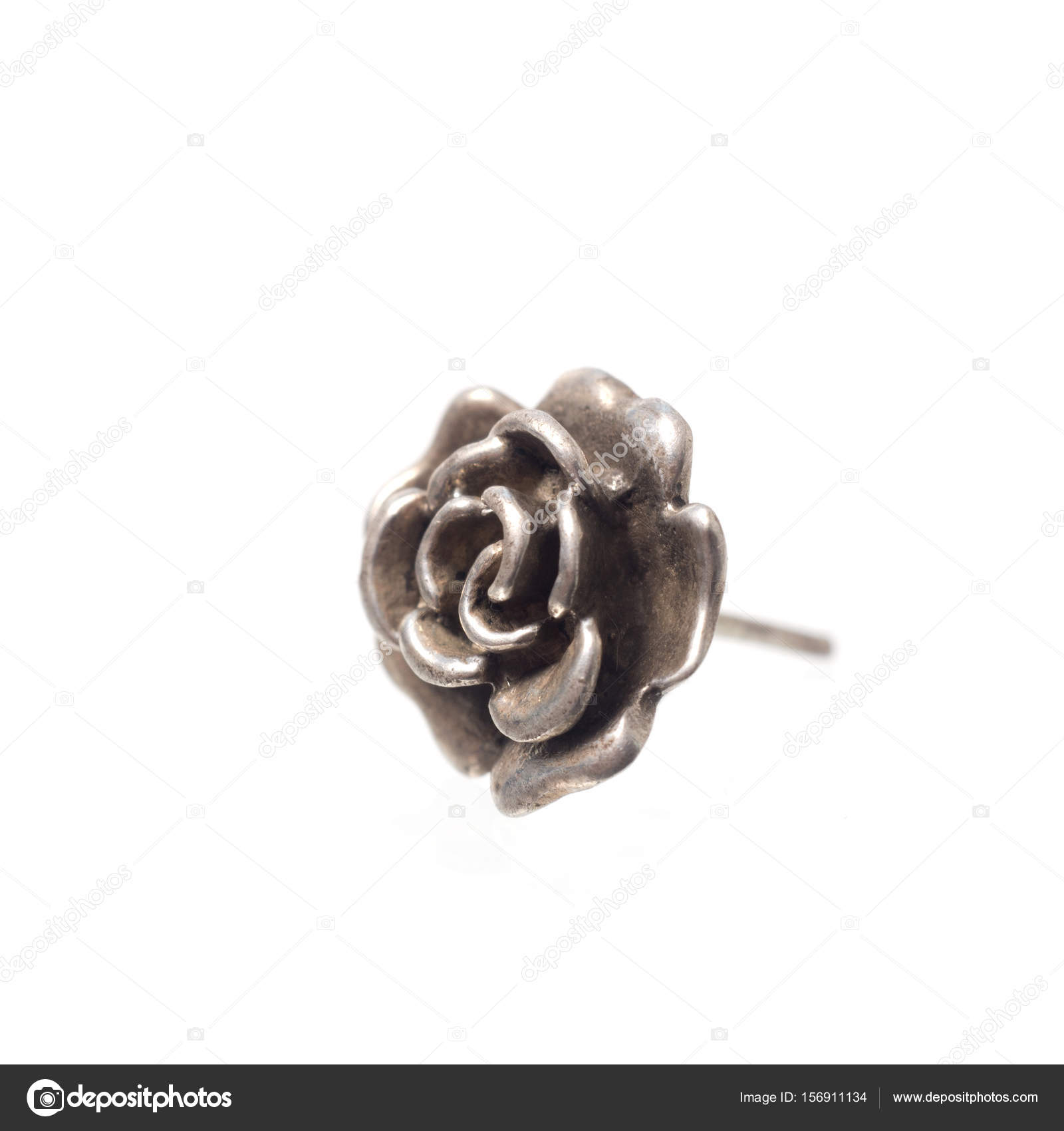 Silver Rose Ring Isolated On A White Background Stock Photo