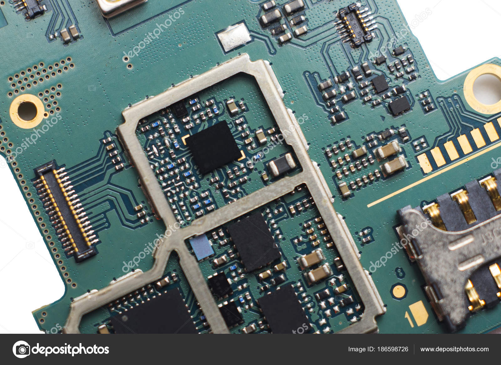 Closeup Circuit Board Electronic Components Stock Photo Bigjom Stockfoto Printed Pcb Used In Industrial