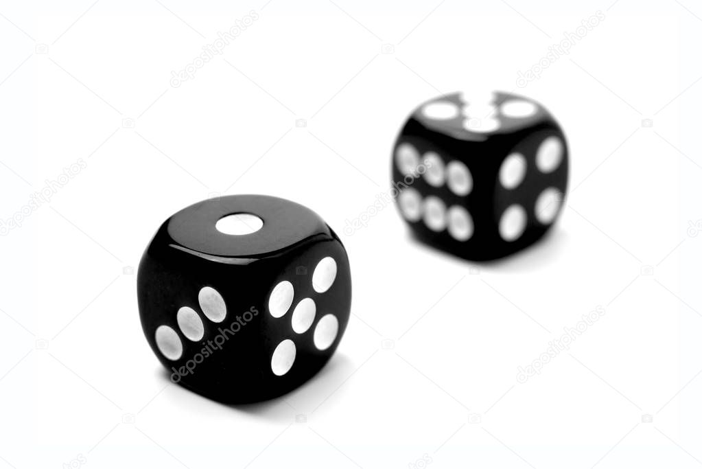 Two Black Dice Games isolated on a white background.
