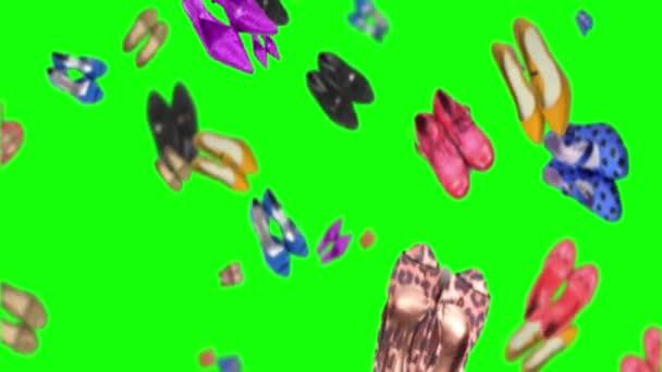 Animáció sok forgó női cipő zöld alapon