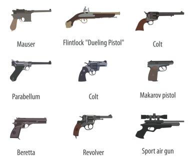 Firearm set. Guns, pistols, revolvers. Flat design