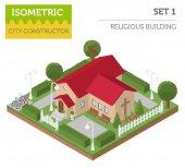 Fotografie Sakrální architektury. 3d izometrické kostel a město mapa cr