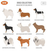 Miniaturní hračky plemen psů, nastavte ikonu izolované na bílém. Plochý styl