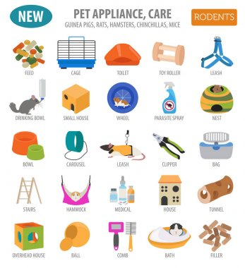 Pet appliance icon set flat style isolated on white. Rodents car