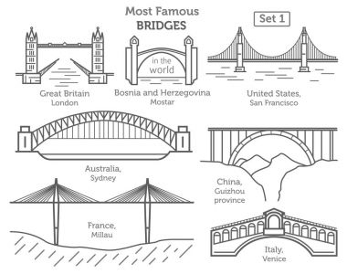 Most famous bridges in the world. Landmarks linear style ison se