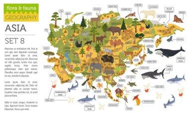 Flat Asian flora and fauna map constructor elements. Animals, bi
