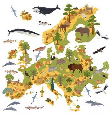 Flat European flora and fauna map constructor elements. Animals,