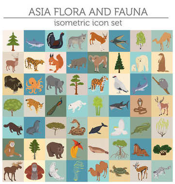 Isometric 3d Asian flora and fauna map constructor elements. Ani