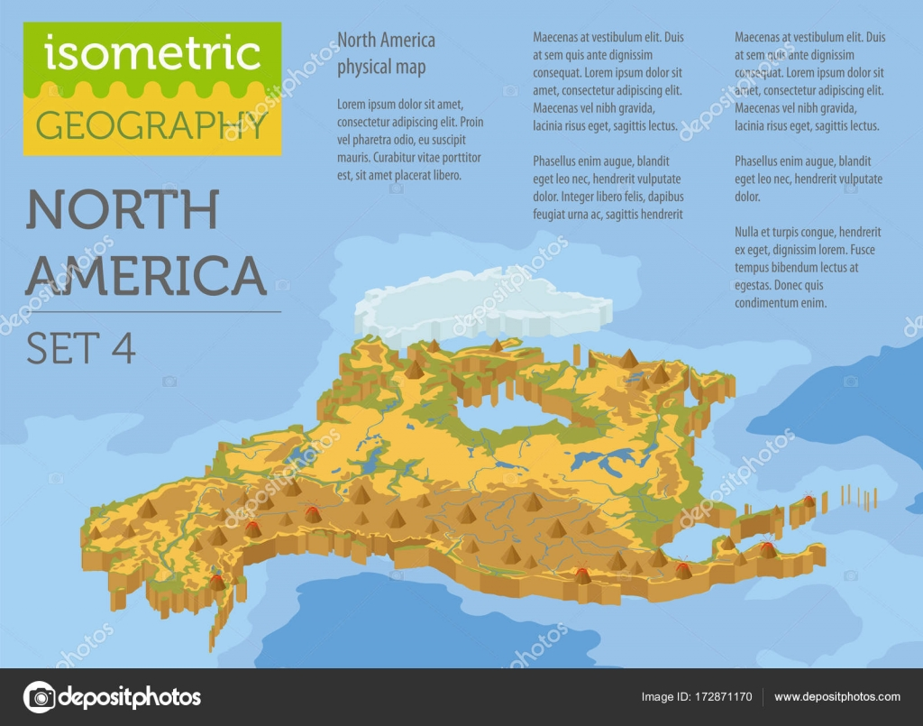 Isometric 3d North America physical map elements. Build your own ...