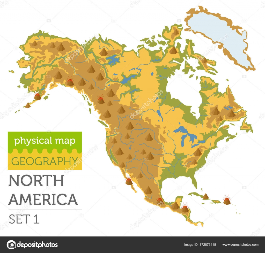 North America physical map elements. Build your own geography in ...