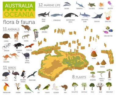 Isometric 3d Australia and Oceania flora and fauna map elements.