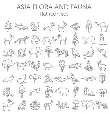 Flat Asian flora and fauna  elements. Animals, birds and sea lif