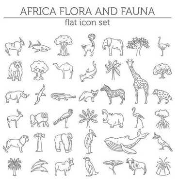 Flat African flora and fauna  elements. Animals, birds and sea l