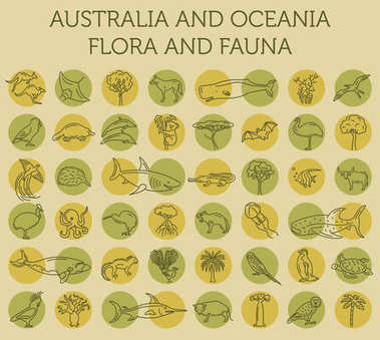 Flat Australia and Oceania flora and fauna  elements. Animals, b