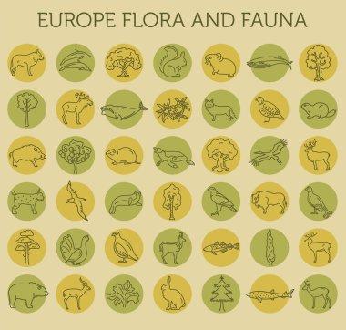 Flat European flora and fauna  elements. Animals, birds and sea
