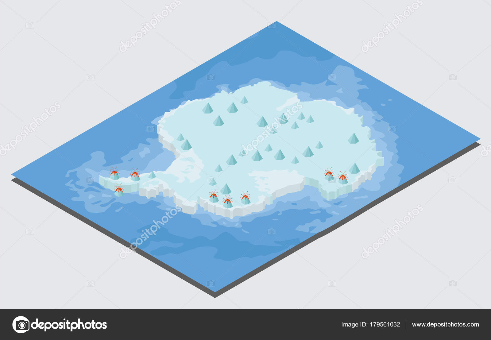 Isometric 3d Antarctica physical map elements. Build your own ge ...