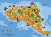 Fotografie Isometrischen 3d Südamerika Flora und Fauna Kartenelemente. Tiere