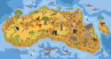 Flat 3d isometric Africa flora and fauna map constructor element