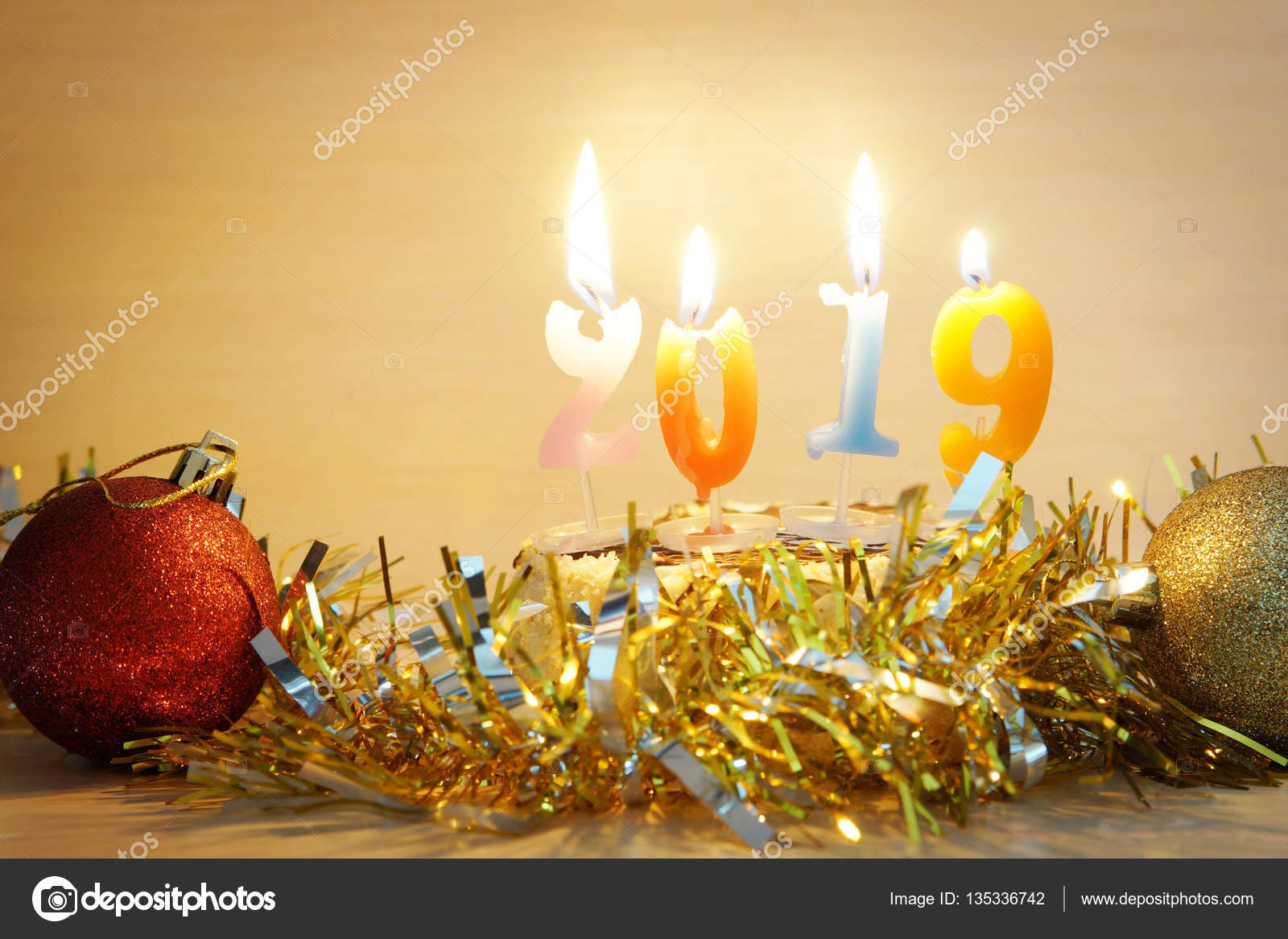 New Year 2019 Composition Cake And Burning Candles As Numbers