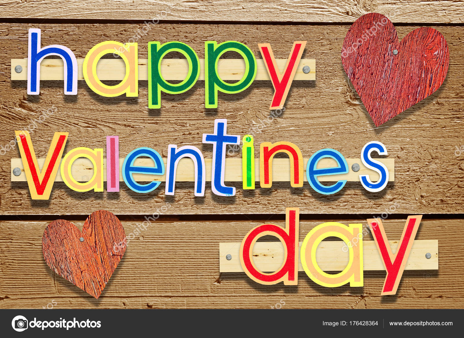 Wooden Nailed Greeting Text Happy Valentines Day With Two Hearts