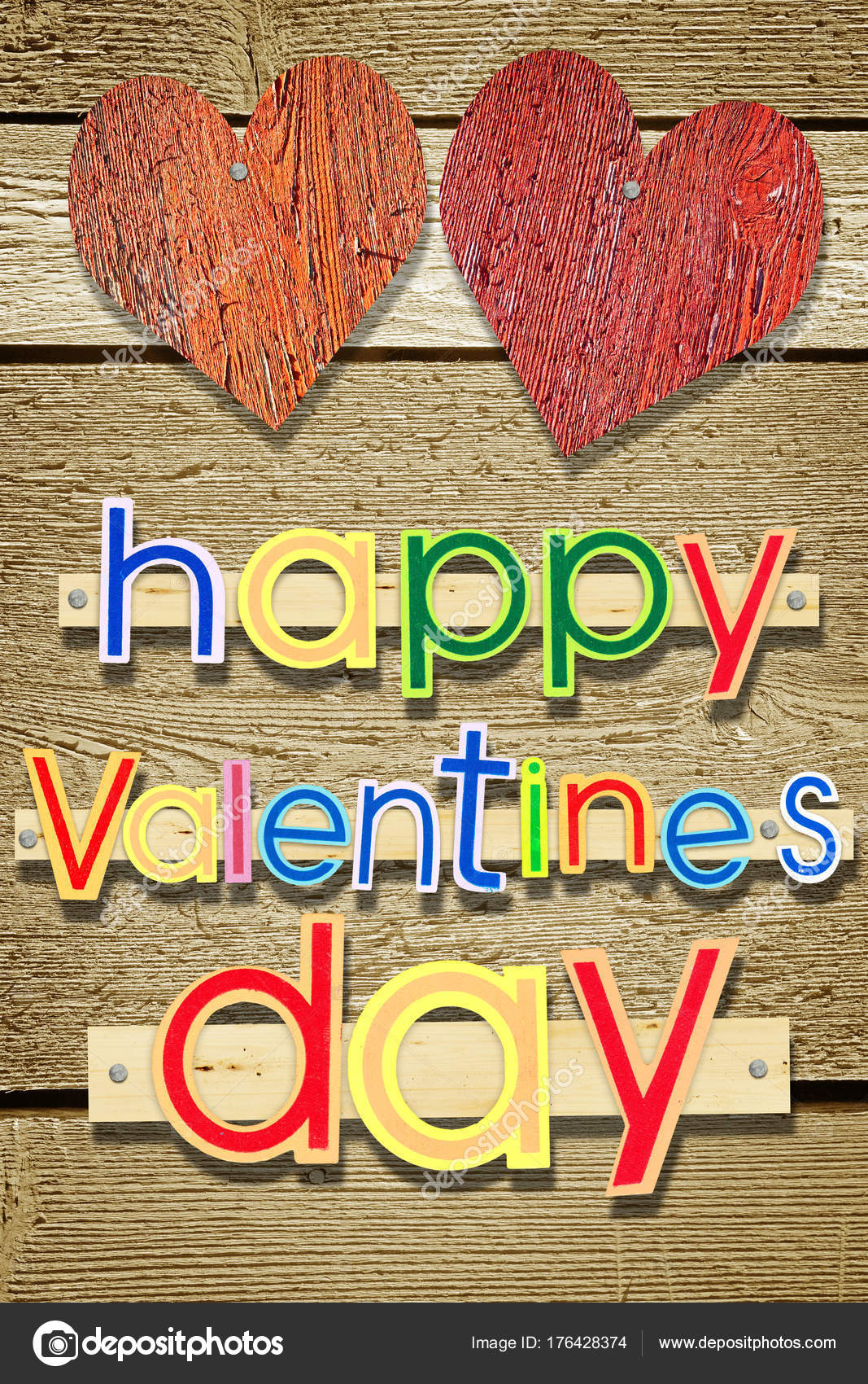 Wooden Nailed Greeting Text Happy Valentines Day Stock Photo A