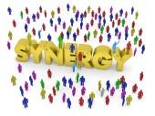 Mnoho lidí kolem zlaté slovo synergie