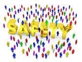 Mnoho lidí kolem zlaté slovo bezpečnost