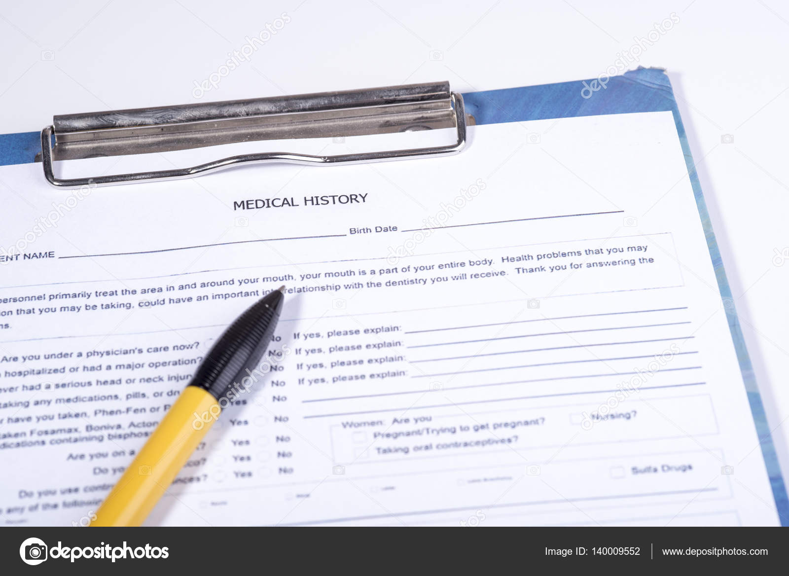 medical history questionnaire stock photo piotr290 140009552