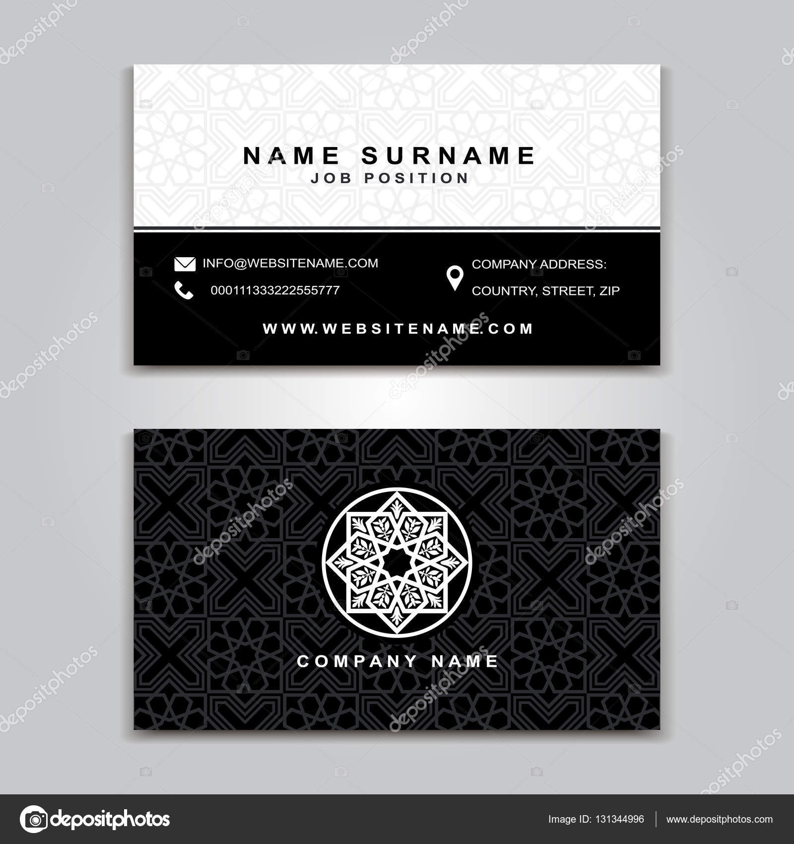 Business Vector Card creative Design, Islamic style, front and back ...
