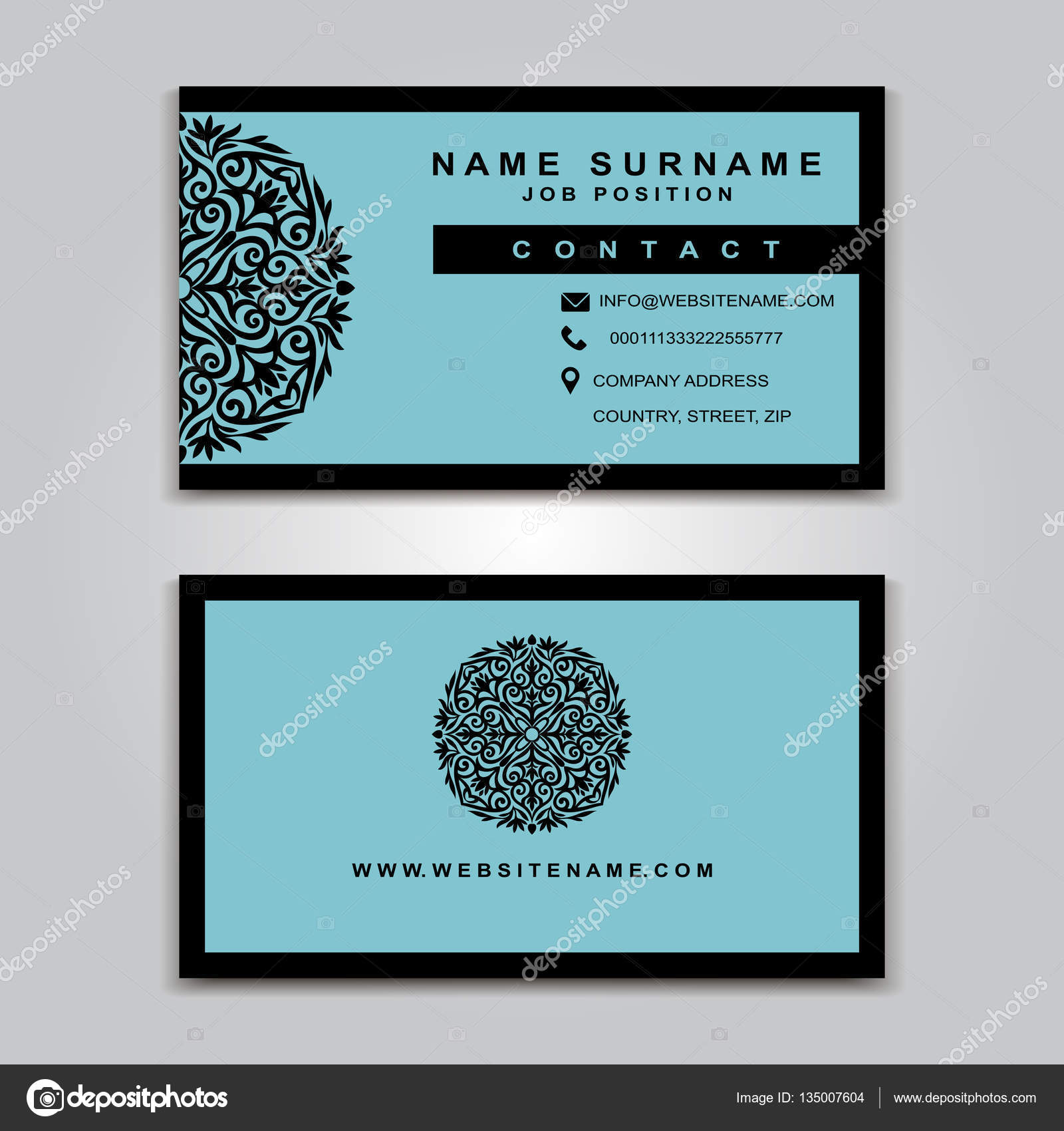 Business Vector Card creative Design Islamic style front and