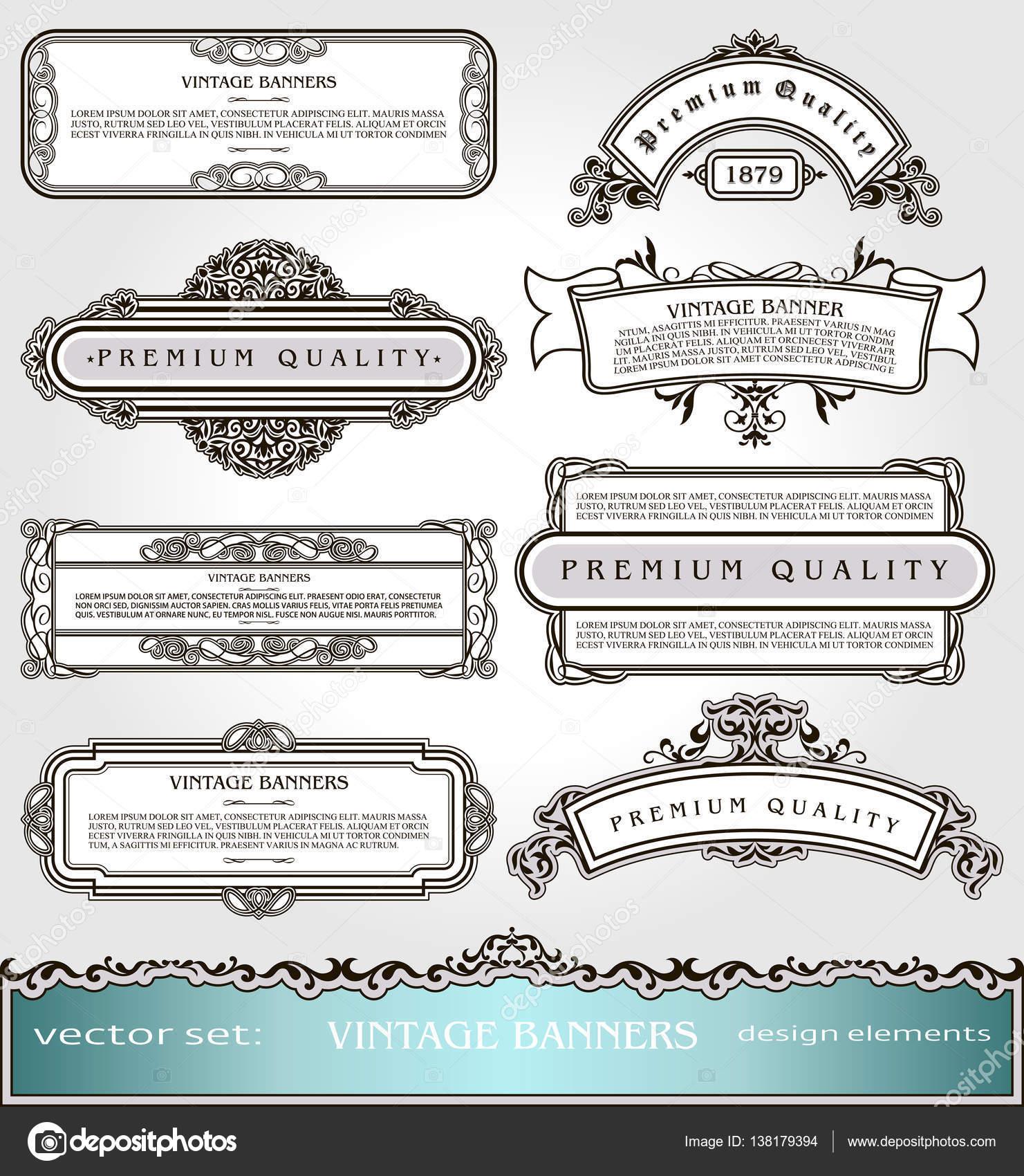 Vektor-Vintage-Banner, Ränder und Rahmen gesetzt, viktorianischen ...